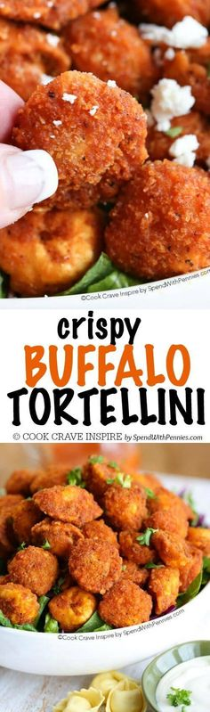 Crispy Buffalo Fried Tortellini – Spend With Pennies Buffalo Fried Tortellini are the perfect bite! Cheese tortellini with a crispy coating tossed with a delicious buffalo sauce! Best Appetizers, Appetizer Recipes, Dinner Recipes, Dinner Ideas, Party Appetizers, Lunch Recipes, Vegetarian Recipes, Cooking Recipes, Pasta Recipes