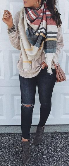 #Winter #Outfits / Pattern Print Scarf + Beige Sweater #casualwinteroutfit