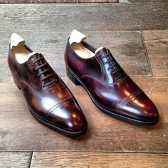 John Lobb Dark Brown and Plum Museum Calf