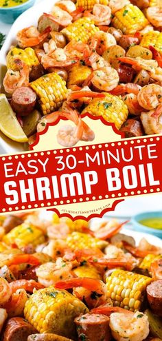 Craving for the best seafood recipe? This Shrimp Boil is an Old Bay recipe with a mix of corn, shrimp, sausage, and baby potatoes. This delicious recipe for dinner is ready in just 30 minutes! Pin this easy main dish recipe! Sausage And Shrimp Recipes, Seafood Boil Recipes, Seafood Dishes, Healthy One Pot Meals, Healthy Recipes, Yummy Recipes, Yummy Yummy, Delicious Food, Delish