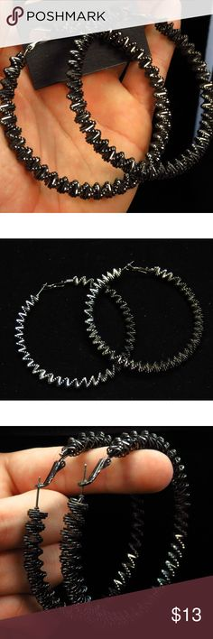 bebe black bead large hoop earrings NWOT bbe26nc bebe black bead large hoop earrings NWOT bbe26nc bebe Jewelry Earrings