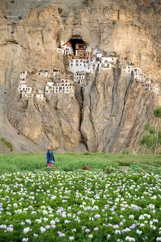 Prompt: describe life living in this village. Buildings on the rock - Phugtal Monastery, India
