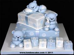 004013 2 tier Christening cake with sugarpaste Bears, Blocks and Spots.jpg 1,335×1,000 pixels