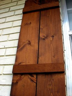 How to Attach Wooden Shutters To Brick « Home Improvement Stack Exchange… Cedar Shutters, Diy Shutters, Window Shutters, Wooden Shutters Exterior, Stained Brick Exterior, Stain Brick, Shutters Brick House, Modern Shutters, Cedar Stain