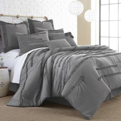 Colonial Textiles Collette Comforter Set in Grey | AllModern
