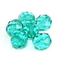 6 geschliffene Glasperlen | Türkis Grün | 12mm *pe4096 - JAUL.biz Perlen und Glas