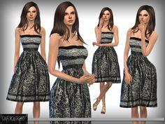 Lace-Print Midi Dress by DarkNighTt at TSR via Sims 4 Updates