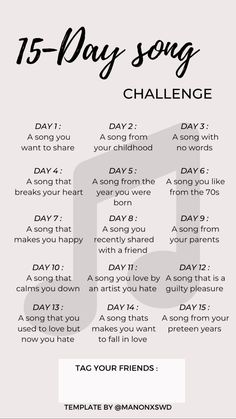 Music Challenge, 30 Day Workout Challenge, Bingo, Challenges To Do, Song Recommendations, Funny Insults, Friends Day, Morning Inspiration, Childhood Days