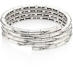 John Hardy Bamboo Sterling Silver Coil Bracelet (53.670 RUB) ❤ liked on Polyvore featuring jewelry, bracelets, apparel & accessories, silver, sterling silver bangles, john hardy, john hardy bangles, sterling silver jewellery and john hardy jewellery