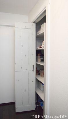 29 ideas bifold closet door makeover diy laundry rooms for 2019 Bedroom Closet Doors, Barn Door Closet, Laundry Room Doors, Laundry Closet, Diy Barn Door, Diy Bedroom, Hall Closet, Rustic Closet, Master Bedroom