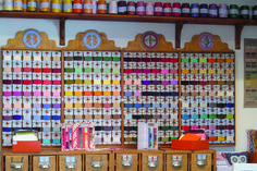 Nos fils à broder à la boutique Sajou Paris. Our embroidery floss in Sajou Paris shop.