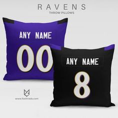 785a46683 BALTIMORE RAVENS PILLOW FRONT AND BACK - PERSONALIZED SELECT ANY NAME  amp  ANY  NUMBER