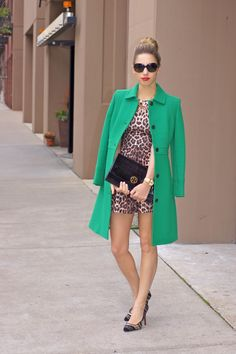 http://thechicagolifeblog.com/lady-in-leopard/; My 2 favorite things this season Leopard and green!!