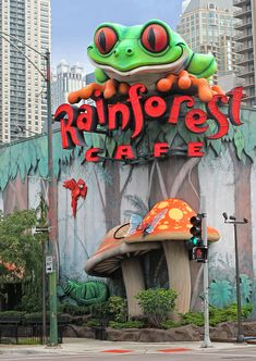 Rainforest Cafe Chicago by Dave Mills Funnel Cake funnel cake hoboken Chicago Travel, Chicago Vacation, Chicago Trip, Chicago Illinois, Forest Drawing, Rainforest Cafe, Cool Restaurant, My Kind Of Town, Sale Poster