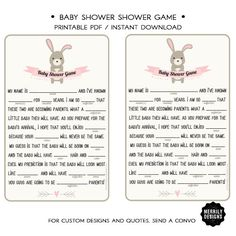 Baby Shower Fill-in-the-blanks Game  Pink  by MERRILYDESIGNS