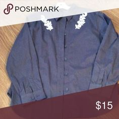 """Van Huesen Cotton Blouse Large Color is dark grey, I only wore this a couple of times and it looks like New. Has flower embellishment.. Bust 22"""" material has stretch. Van Heusen Tops Blouses"""