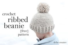 Crocheted Ribbed Beanie - Free Pattern - delia creates