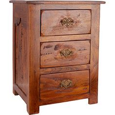 Wooden Three Drawer Bedside Table