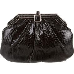 Pre-owned Judith Leiber Embellished Karung Clutch ($295) ❤ liked on Polyvore featuring bags, handbags, clutches, black, judith leiber purse, locking purse, hand bags, judith leiber and chain handle handbags