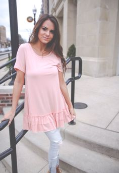 Ruffle detail top- peach https://www.firstharvestboutique.com/product-page/ruffle-detail-top