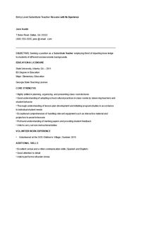 Free Entry Level Substitute Teacher Resume With No Experience