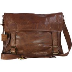 VIPARO Tan 17 Inch Large Vintage Wash Leather Satchel Messenger Bag -... (290 AUD) ❤ liked on Polyvore