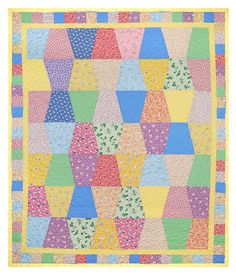 Pre-Cut Baby Quilt Finishes at 40 x Totally precision die pre-cut . kit includes all tumblers yellow border and pre-cut squares for outer border. Quilting Projects, Quilting Designs, Sewing Projects, Quilt Kits, Quilt Blocks, Tumbler Quilt, Baby Quilt Patterns, Baby Girl Quilts, Doll Quilt