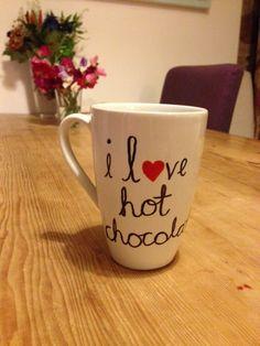 I love hot chocolate mug, sharpie mugs - aliceshideaway http://aliceshideaway.wordpress.com/