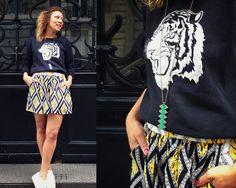 Style by My Kinda Magazine : Sautoir Cannibale Satine Création // Sweat-shirt tête de tigre Zara / Short ethnique Topshop / Tennis en toile blanches. Paris #blogueuse #fashion #style #mode