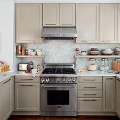 I love the long handles on the cupboards. Chevron backsplash; Orientation of cabinet hardware