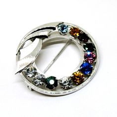Silver Tone Brooch - Vintage, Catamore Signed, 12K Gold Filled, Multi-Colored Rhinestones, Circular Pin by MyDellaWear on Etsy