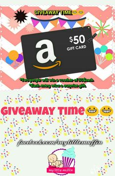Two winners shall get a chance to win amazon voucher worth 50$each and each entry wins a surprise in their inbox. A giveaway is just a way to say a thank-you to our page followers. Mylittlemuffin is super excited to announce this giveaway.