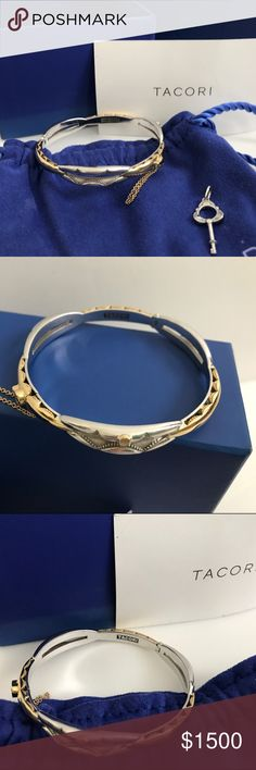 Tacori Promise Bracelet 18K Silver Small 18k925 GORGEOUS authentic size small Tacori promise bracelet with key. My wrist is 6.5 and this bracelet fits almost perfectly, no bigger. Small size. BEAUTIFUL and currently a hot item! Tacori Jewelry Bracelets