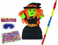 "Witch Pinata Kit - Includes Pinata, 2Lb Filler, Buster Stick and Blindfold by Aztec Imports. $35.65. Kit includes (1) pinata, (1) 2lb filler, (1) buster stick and (1) blindfold. 18"" long Pinata Buster Stick is made of wood and is covered with strips of crepe paper in assorted colors. Witch Pinata measures approx. 22"" x 10"" x 6.5"". Pinata filler includes 2 lbs. of Assorted Fruit Barrels, Tootsie Rolls, Jawbreakers-Hot Shots, Assorted Flavor Lollipops, Smarties Packets, Smar..."