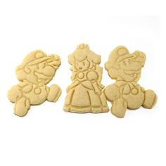 Set of four Paper Mario themed cookie cutters! Mario, Luigi, Princess Peach and Toad! - Home-made - 3D Printed with ABS - Dishwasher safe Plastic cookie cutter ideal for cookie-cutter-compatible dough