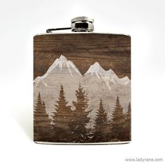 Mountain Landscape Whiskey Flask Nature Hiking Camping Oudoors Climbing Hip Flask Hip Flask 6oz Flask Mens Gift