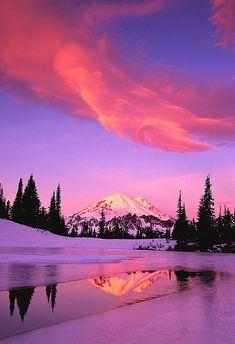 beautiful landscape reflection --  PURPLE and RED sunset ♥♥♥♥