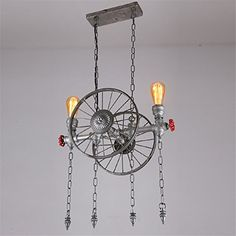 2017 NEW Creative water pipe Iron two-wheeled pendant lights nostalgic American village retro Mediterranean style pendant lights Industrial Pendant Lights, Pendant Lighting, Chandelier, American Village, Entry Hallway, Kitchen Pendants, Mediterranean Style, Water Pipes, Room Kitchen