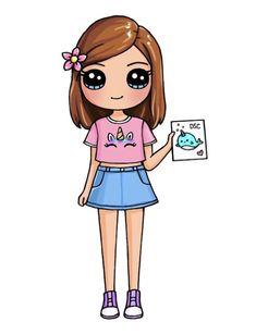 Kawaii Girl Drawings, Cute Animal Drawings Kawaii, Cute Easy Drawings, Cute Little Drawings, Cute Girl Drawing, Cute Cartoon Drawings, Girly Drawings, Cartoon Girl Drawing, Girl Cartoon