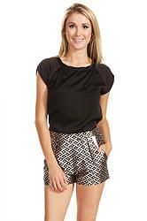 Shimmer Shorts: Look luxurious in these high-waist brocade shorts with a cool metallic geometric print. Invisible zipper closure at back.