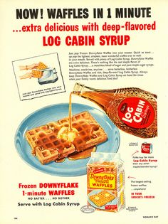 Log Cabin maple syrup ad - Woman's Day, March 1954.