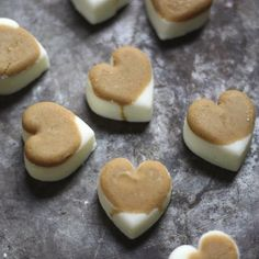 Simple recipe for heart shaped natural dog treats using peanut butter and greek yogurt — you just need the ice molds!