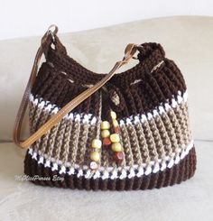 Crochet brown striped shoulder bag crochet beaded by MyNicePurses, $55.00