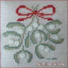 Christmas mistletoe cross stitch.