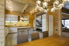 Design of a Finnish luxury log home / log house provided by Rovaniemi Log House. Finland