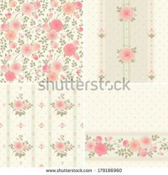 Set of vector patterns with climbing roses Seamless floral background