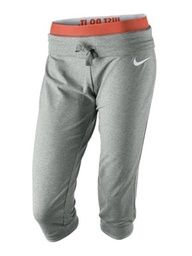 Anti-Spandex Gym Pants! These capris are great for working out, yoga, or just hanging out. Theyre not super-tight, but theyre also not too loose, so they end up being perfectly flattering and comfortable. Dri-FIT Obsessed Womens Training Capris, $55, nike.com