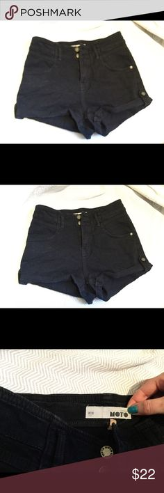 Topshop highwaist denim shorts my favorite high waisted black denim shorts from Topshop! a small hole was in the back pocket but i paid to have it patched and fixed so it's hardly noticeable! Topshop Shorts Jean Shorts