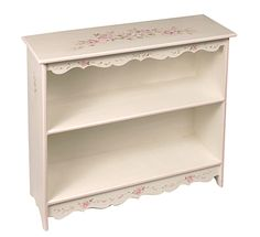 Scalloped Handpainted Bookcase with Roses