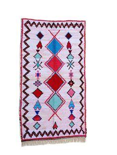 """85""""X41"""" Handwoven moroccan rug boucherouite, handmade moroccan rug, floor rug boucherouite, colorful  boucherouite rug, moroccan rugs,"""